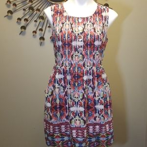 Rabbit Geometric Print Dress with Pockets